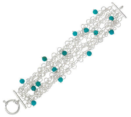 "Turquoise Bead Sterling Silver 6-3/4"" Charm Bracelet"