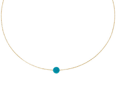 "Vicenza Gold 18"" Woven Omega Turquoise Bead Necklace, 14K"