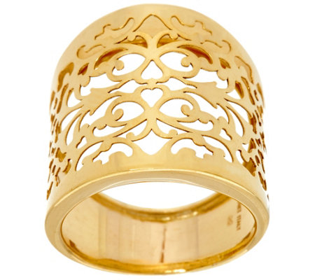 Italian Gold Filigree Lace Graduated Ring, 14K Gold