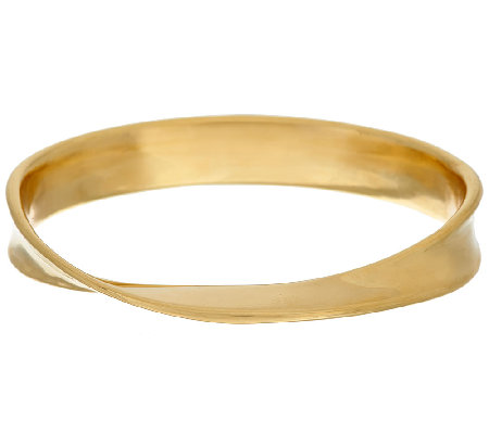 Oro Nuovo Average Wave Twist Polished Oval Bangle, 14K