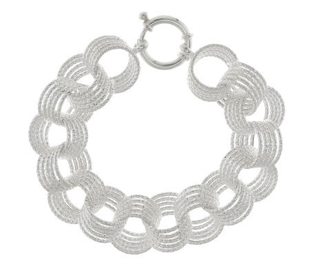 """As Is"" Sterling 7-1/4"" Textured Bold Circle Link Bracelet, 23.3g"