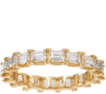 Diamonique Baguette Eternity Band Ring, 14K Gold - J328414