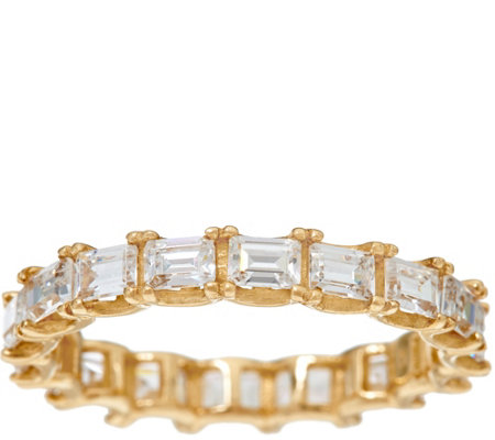 Diamonique Baguette Eternity Band Ring, 14K Gold