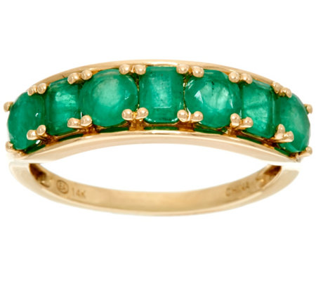 Multi-Cut Brazilian Emerald Band Ring, 14K Gold 1.40 cttw