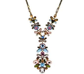 "Joan Rivers Jeweled Cluster 32"" Pendant Necklace w/ 3"" Extender - J330614"