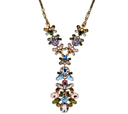 "Joan Rivers Jeweled Cluster 32"" Pendant Necklace w/ 3"" Extender"