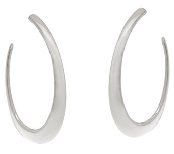 "Vicenza Silver Sterling 2"" Graduated Hoop Earrings - J331014"