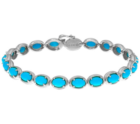 "Sleeping Beauty Turquoise Sterling Silver 7-1/4"" Tennis Bracelet"