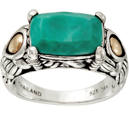 JAI Sterling Silver & 14K Gold Green Turquoise Ring