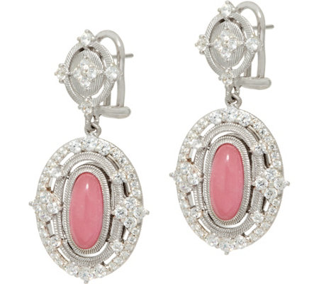 Judith Ripka Sterling_Jade & Diamonique Drop Earrings