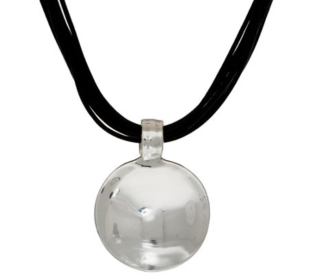 Simon Sebbag Sterling Silver Electroform Disk & Leather Necklace