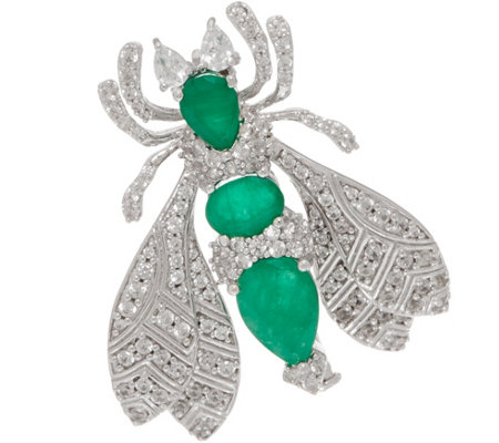 5.00 cttw Emerald & White Zircon Bee Pin, Sterling