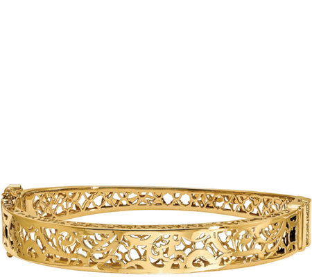 14K Swirl Cutout Hinged Bangle, 13.6g