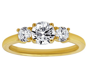 diamonique 150 cttw threestone roundcut ring 14k gold j380514