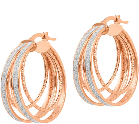 Italian Gold Glitter-Infused Round Hoop Earrings 14K