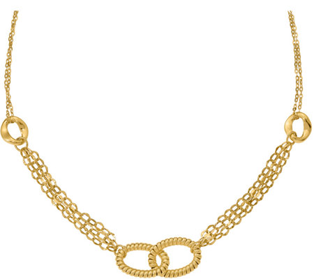 Italian Gold Oval Link Station Necklace, 14K