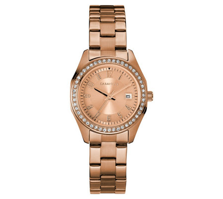 Caravelle Women's Stainless Crystal Petite Bracelet Watch