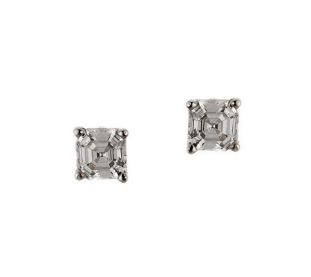 Diamonique 0.75 ct tw Asscher Stud Earrings, 14K Gold