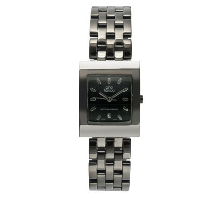 Gino Franco Men's Stainless Steel Gunmetal Bracelet Watch