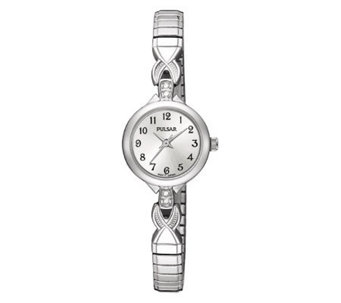 Pulsar Expansion Swarovski Crystal Silvertone Watch - J107915