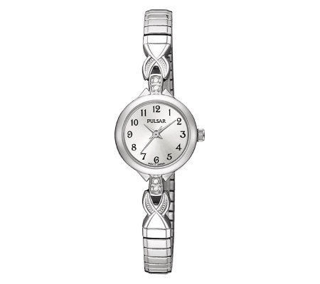 Pulsar Expansion Swarovski Crystal Silvertone Watch