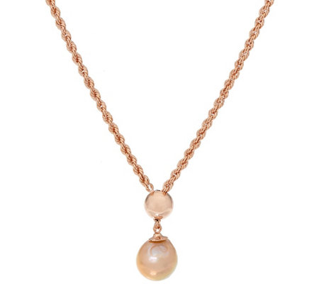 Honora Cultured Pearl 12.0mm Ming Adjustable Bronze Necklace