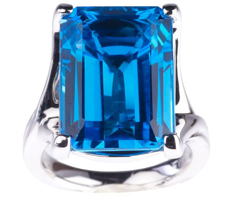 16.15 ct Ostroblue Topaz Emerald Cut Sterling Ring