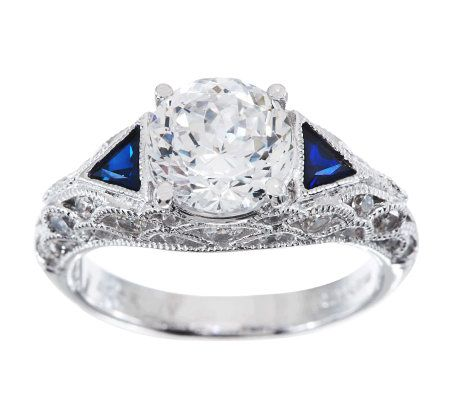 Tacori IV Diamonique Epiphany Bloom Cut Lab Created Sapphire Ring