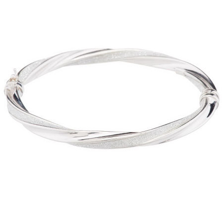 Vicenza Silver Sterling Avg. Pave' Glitter Twisted Oval Hinged Bangle