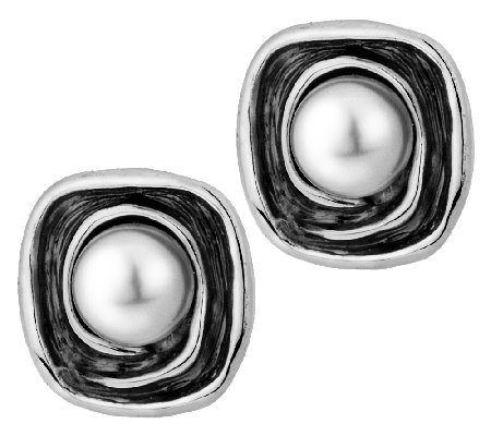 Hagit Sterling Cultured Pearl Textured Button Earrings