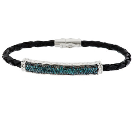 Pave' Diamond Leather Bracelet, Sterling, 1/2 cttw, Affinity