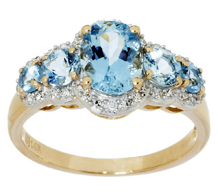 1.50 ct tw Santa Maria Aquamarine & Diamond 5-Stone Ring, 14K Gold