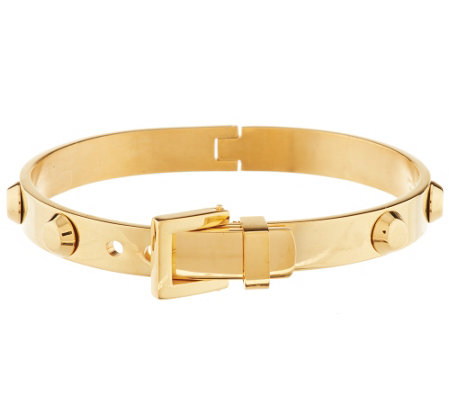 Stainless Steel Studded Hinged Buckle Bangle
