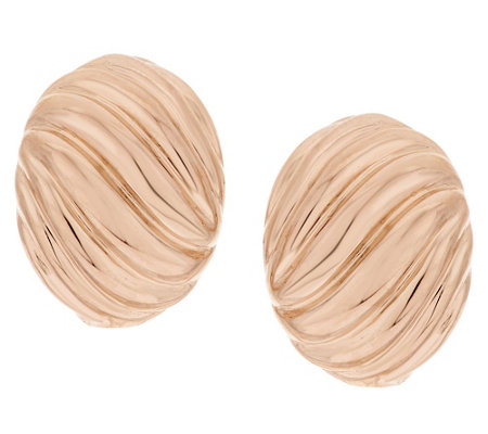 Bronze Bold Ribbed Omega Back Earrings by Bronzo Italia