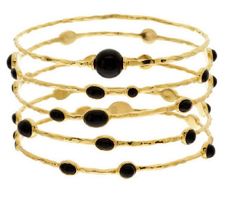 """As Is"" Veronese 18K Clad Large Set of 5 Onyx Station Bangles"