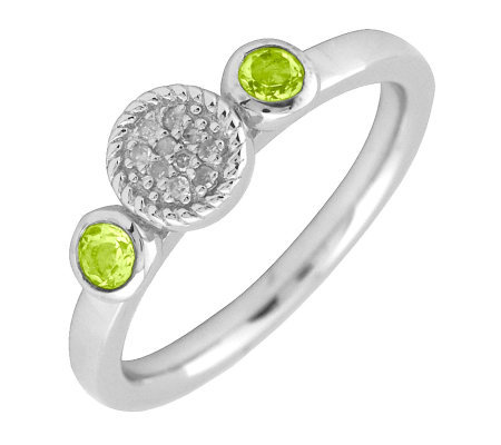Simply Stacks Sterling & Double Round Peridot Diamond Ring