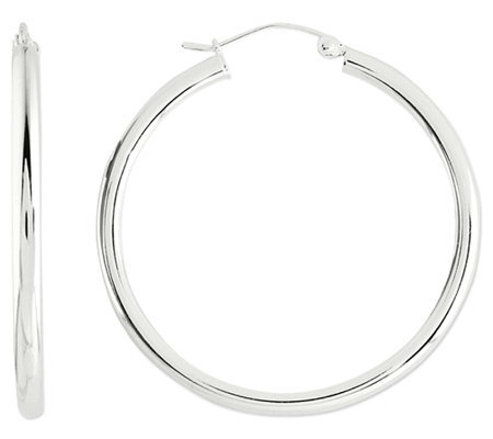 "Prerogatives Sterling 1-1/4"" Round Hoop Earrings, 2.5mm"