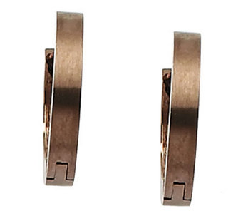 "Stainless Steel Chocolate-Plated 1/2"" Hoop Earrings - J302215"