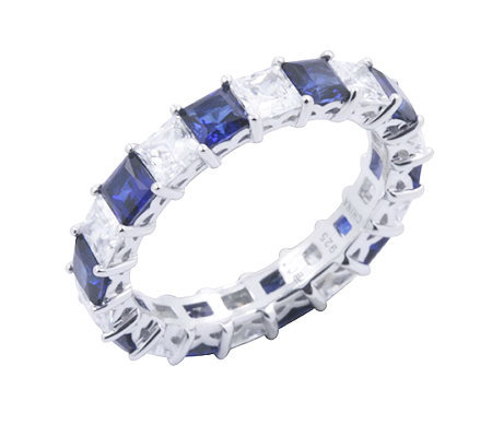 Diamonique & Simulated Sapphire Band Ring, Platinum Clad
