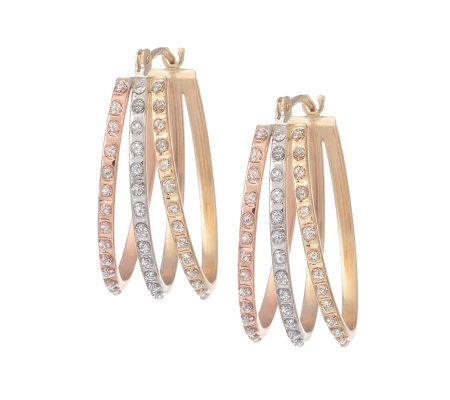 Diamond Fascination Oval Flare Hoop Earrings, 14K Gold
