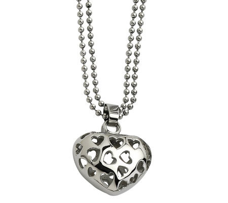 "Stainless Steel Puffed Heart Pendant with 23"" Beaded Chain"