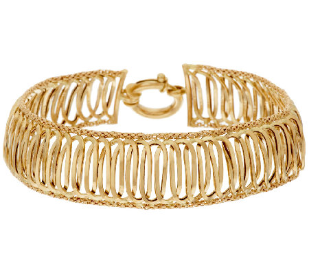 "14K Gold 7-1/4"" Polished Interlocking Link Bracelet, 9.1g"