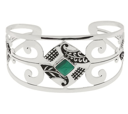"""As Is"" Ninos Chammo Artisan Crafted Sterling Avg. Gemstone Cuff"