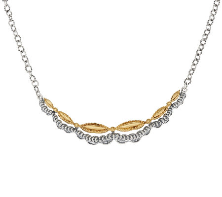 Sterling/Brass Scalloped Design Necklace by Fritz Casuse