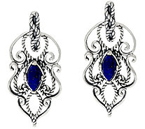Carolyn Pollack Sterling Silver Marquise Lapis Textured Scroll Earrings - J322615