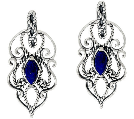 Carolyn Pollack Sterling Silver Marquise Lapis Textured Scroll Earrings