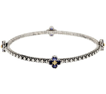 Barbara Bixby Sterling & 18K 1.30 cttw Gemstone Flower Bangle Bracelet - J323815