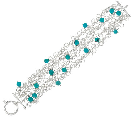 "Turquoise BEad Sterling Silver 7-1/4"" Charm Bracelet"