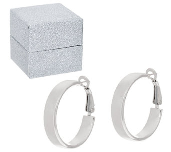 "Sterling Silver 1"" Omega Back Hoop Earrings by Silver Style with Gift Box - J324115"