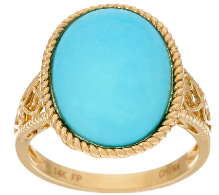 Sleeping Beauty Turquoise Textured Bold Ring, 14K Gold